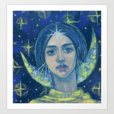 """""""Hecate Goddess of the Moon, pastel painting, fantasy art Art Print ❤ liked on Polyvore featuring home, home decor, wall art, magic, pastel, surreal, moon home decor, pastel home decor, moon painting and moon wall art"""