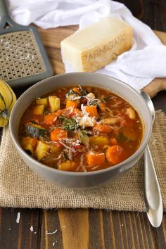 Autumn minestrone soup. Hearty, healthy, loaded with vegetables a complete meal in a bowl.