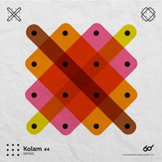 Kolam Series A Kolam is a geometrical line drawing composed of curved loops, drawn around a grid pattern of dots in South india. South India, Shape Patterns, Graphic Design Illustration, Line Drawing, Print Design, Typography, Dots, Series 4, Shapes