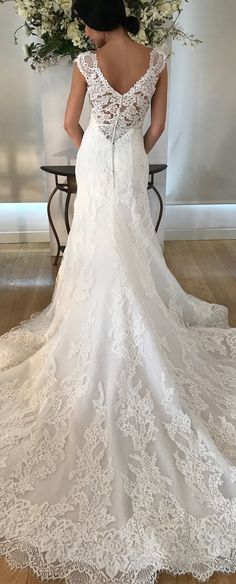 Wedding Styles Absolutely breathtaking train on this Kelly Faetanini wedding dress! VIOLA wedding dress by Kelly Faetanini // Fit-to-flare lace gown with illusion lace deep V back. Bridal Dresses, Wedding Gowns, Bridesmaid Dresses, Modest Wedding, Top Wedding Trends, Wedding Styles, Kelly Faetanini Wedding Dresses, Dream Wedding, Wedding Day