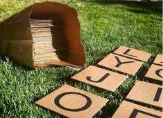 Make your own lawn scrabble game board with repurposed cardboard