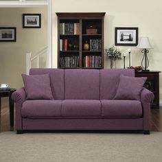 Portfolio Rio Convert-a-Couch Amethyst Purple Linen Futon Sofa Sleeper