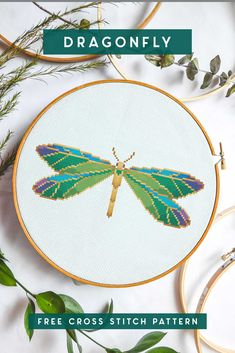 Get this dragonfly cross stitch pattern featuring bright blues, greens and yellows. Simple and easy with DMC floss and Aida fabric! Cross Stitch Borders, Counted Cross Stitch Patterns, Cross Stitch Charts, Cross Stitch Designs, Cross Stitching, Cross Stitch Embroidery, Embroidery Patterns, Embroidery Art, Cross Stitch Flowers Pattern