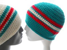"""Crocheted hats with classic stripes show your love for your favorite colors, favorite team, your school or your country. They're great """"couple"""" hats, too. Slouchy Beanie Pattern, Knitting Patterns, Crochet Patterns, Crochet Abbreviations, Bag Pattern Free, Favorite Color, Crochet Hats, Ravelry, Cancer"""
