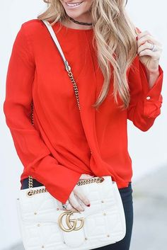 eab6566d22c  winter  fashion   Red Blouse + White Leather Shoulder Bag Red Blouses