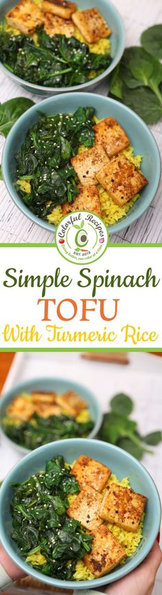 With just 3 main ingredients, Simple Spinach Tofu With Turmeric Rice is an easy, tasty and practical meal you'll be adding to your favorites this year! Veggie Recipes, Asian Recipes, Whole Food Recipes, Vegetarian Recipes, Cooking Recipes, Healthy Recipes, Simple Recipes, Hallumi Recipes, Hotdish Recipes