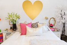 Perfect bedding area. Silver polka dots and heart wall art decal