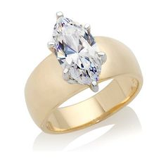 3ct ]; Marquise Solitaire Wide-Band Ring