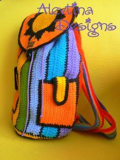 Crochet Rainbow stripy Crazy fun Backpack by AlevtinaDesigns