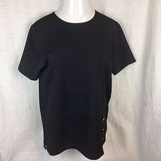 a19c875b6e0da Cathy Daniels Women s Tunic Top Blouse Size Medium Short Sleeve Solid Black   CathyDaniels  Tunic
