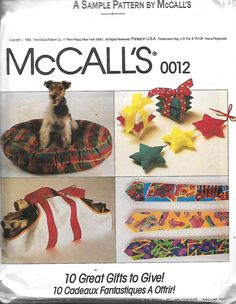 McCall's 0012 Sewing Pattern, Apron, Log Carrier, Dog Bed, Baseball Cap, Necktie, Oven Mitt, Wreath, Sachets & Star Pillow , UNCUT by DawnsDesignBoutique on Etsy