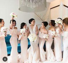 Mermaid Off-the-Shoulder Sweep Train Pearl Pink Satin Zipper-Up Bridesmaid Dress with Ruffles P3
