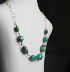 Turquoise hand wrapped linked Necklace14K Gold fill by sonhee, $89.00