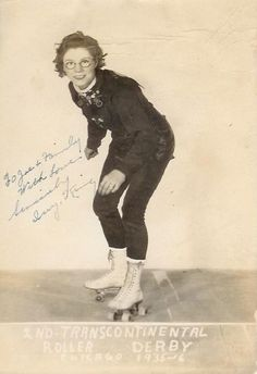 roller derby, 1935.  Wonder if she took her glasses off for bouts?