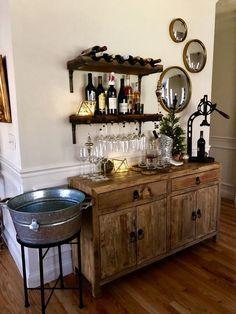 Home Wine Bar, Diy Home Bar, Home Bar Decor, Bars For Home, Diy Bar, Small Home Bars, In Home Bar Ideas, Bar Cart Decor, Wine And Coffee Bar