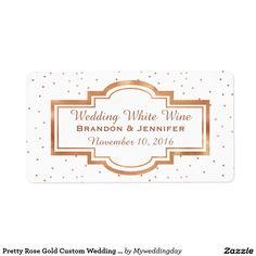 Pretty Rose Gold Custom Wedding Mini Wine Labels
