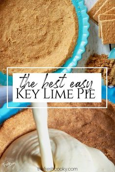 homemade graham cracker crust EASY CREAMY and BEST Key Lime pie! Luscious with perfect sweet-tart Key Lime Pie ratio. Tips and recipe on Winter Desserts, Easy Desserts, Delicious Desserts, Dessert Recipes, Lime Desserts, Mexican Desserts, Drink Recipes, Lime Recipes, Fudge Recipes