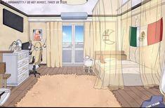 Dorm Layout, Dorm Room Layouts, Dorm Design, House Design, Casa Anime, Girl Dorms, Anime Places, Dormitory, Anime Scenery