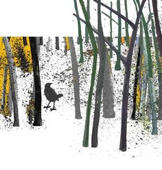 Digital art print - Bird in the woods - woodland earth autumn fall white yellow black  - gift for man