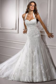 Zipper Dropped Waist Chapel Train Halter Glamorous Wedding Dress