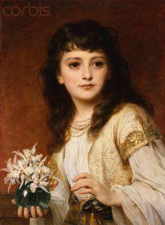 """Sir Frank Dicksee, """"Portrait of a Girl"""" Frank Dicksee, Classic Paintings, Beautiful Paintings, Edward Moran, Albert Bierstadt, Sir Francis, Pre Raphaelite, Alphonse Mucha, Wow Art"""