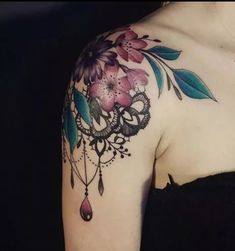 Tatto Ideas 2017 - Tattoos Aquarelle et Dentelle - Zeitleiste - tattoo - Orchidee Girly Tattoos, Trendy Tattoos, Rose Tattoos, Flower Tattoos, Body Art Tattoos, New Tattoos, Tatoos, Lace Shoulder Tattoo, Shoulder Tattoos For Women