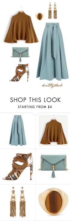 """Cafe Bleu"" by kittydub ❤ liked on Polyvore featuring Temperley London, Aquazzura, Mellow World and Chloé"