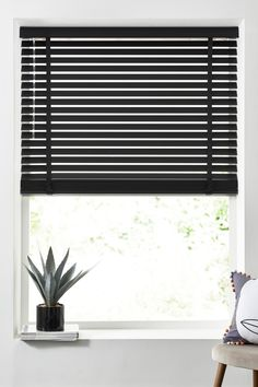 Buy Slat Venetian Blind from the Next UK online shop - Katherine Anzalone Kitchen Blinds Black, Kitchen Window Blinds, Black Blinds, Window Blinds & Shades, Bathroom Blinds, Wood Blinds, Curtains With Blinds, Kitchen Blinds Wooden, Bathrooms