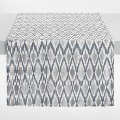 Black and White Ikat Table Runner - Cotton by World Market - Table Settings White Dining Room Table, Black And White Dining Room, Dining Table In Kitchen, Table And Chairs, Table Runners, Dining Rooms, World Market Table, World Market Dining Chairs, Black And White Tablecloth