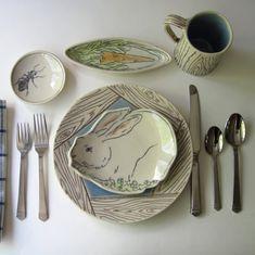 Ceramics by EarlyBirdDesignsShop on Etsy Pottery Plates, Slab Pottery, Ceramic Pottery, Pottery Art, Thrown Pottery, Pottery Studio, Clay Plates, Ceramic Plates, Ceramic Table