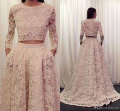 Two Pieces Prom Dresses 2015 Crew Sweep Train Long Sleeve Lace Wedding Dress A Line Zipper Back Elegant Formal Evening Gowns Online with $156.75/Piece on Click_me's Store | DHgate.com