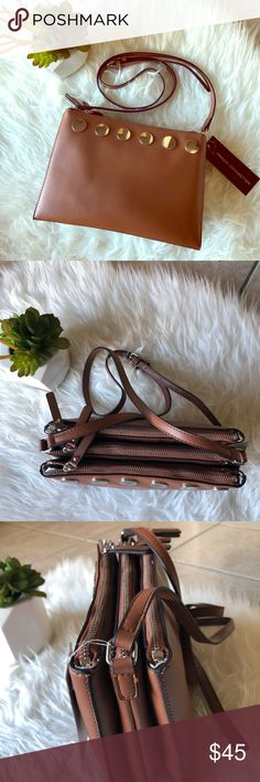 NWT French Connection Crossbody Bag Brown Crossbody bag with gold embellishing and tons of room to store things! Please see pictures for detials😊 French Connection Bags Crossbody Bags