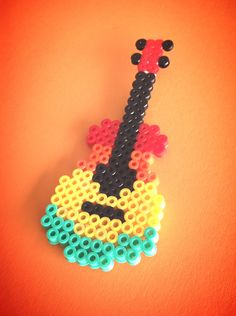 Gitar hama perler beads by Sten C Easy Perler Bead Patterns, Melty Bead Patterns, Perler Bead Templates, Diy Perler Beads, Perler Bead Art, Beading Patterns, Easy Perler Beads Ideas, Peyote Patterns, Hamma Beads Ideas
