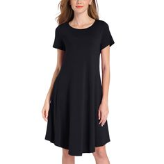 Summer Women Fashion Sleeveless Sexy Dress With Pocket Casual Tank Top Dress Evening Party Dress T Shirt Midi Dress, Tank Top Dress, Robe Swing, Swing Dress, Vestidos Vintage, Vintage Dresses, Formal Dresses For Women, Casual Dresses, Fashion Dresses