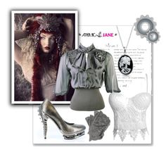 """ATOMIC JANE"" by atomic-jane ❤ liked on Polyvore featuring Grace, New Look, Bling Jewelry, croptop, metallic, steampunk, whitelace and atomicjanesteam"