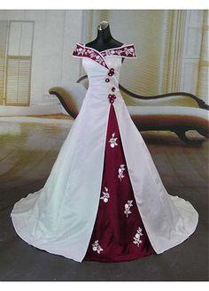 Beautiful Elegant Satin A-line Off-the-shoulder Wedding Dress In Great Handwork