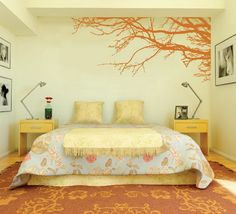 Amazing Orange Japanese Tree Garden for Modern Bedroom Wall Paint Stickers Decals Decorating Designs Ideas