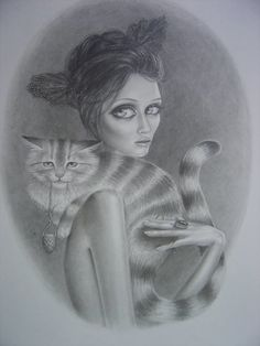 woman with cat sketch