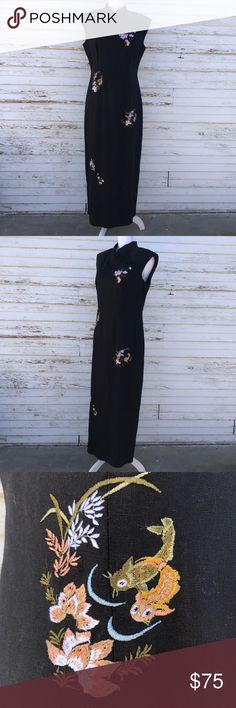 Scarlett mandarin collar embroidered sheath dress EUC. Questions and offers welcome! Scarlett Dresses Maxi