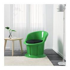 IKEA - POPPTORP, Poltrona con cuscino, bianco/nero, , Vano contenitore sotto il sedile.Il rivestimento è facile da pulire passando semplicemente un panno umido.