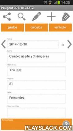 Gastos Coche  Android App - playslack.com , Anota todos los gastos del vehículo, averías, combustible, instecciones, seguro o impuestos... Y comprueba el coste anual que te supone.Puedes compartir los cálculos realizados así como todos los gastos en formato .csv compatible con Excel.Soporta la gestión de hasta 10 vehículos.