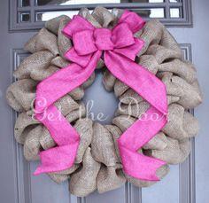 Burlap Wreath, Valentine's Wreath, Burlap wreath with Pink Bow Burlap Crafts, Wreath Crafts, Diy Wreath, Wreath Burlap, Wreath Ideas, Valentine Day Wreaths, Valentine Decorations, Homemade Valentines, Valentine Ideas