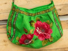 Summer Boho Chic Bag Woman's Bag Green Bag with Red Flowers Multi Color Bag