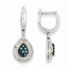 Sterling Silver White & Blue Diamond Hinged Earrings
