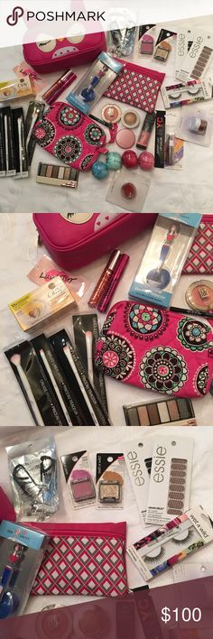 HUGE MAKEUP BUNDLE The best makeup deal you'll ever see! This bundle includes everything you see pictured! Including a NWT Betsey Johnson cosmetic case!! All items are either brand new and unopened or brand new and never been used. Some brands include Tarte, EOS, elf, Vera Bradley, Hard Candy, and Wet n Wild. Additional pictures can be given if asked for! Betsey Johnson Makeup