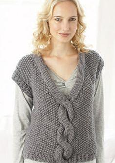 Ravelry: 08 Cabled V-neck Slipover pattern by Debbie Bliss Crochet Skirt Pattern, Knit Vest Pattern, Knit Patterns, Knitting Paterns, Knitting Stitches, Vogue Knitting, Baby Knitting, Super Chunky Yarn, Knitting Magazine
