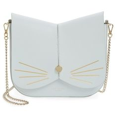 Women's Ted Baker London Cat Leather Crossbody Bag (€185) ❤ liked on Polyvore featuring bags, handbags, shoulder bags, bags and purses, bolsa, purses, pale green, crossbody purses, leather crossbody and crossbody shoulder bag