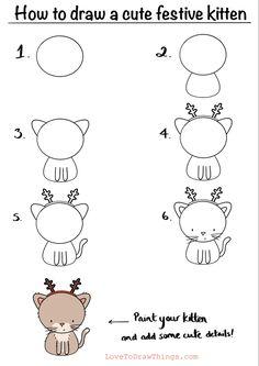 Easy Doodles Drawings, Easy Doodle Art, Cute Easy Drawings, Art Drawings For Kids, Simple Doodles, Cute Doodles, Art Drawings Sketches, Drawing For Kids, Animal Drawings