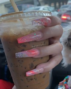 Bling Acrylic Nails, Aycrlic Nails, Summer Acrylic Nails, Best Acrylic Nails, Bling Nails, Swag Nails, Cute Acrylic Nail Designs, Exotic Nails, Uñas Fashion