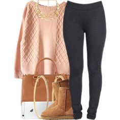 A fashion look from November 2014 featuring NYDJ leggings, UGG Australia ankle booties and Tory Burch bags. Browse and shop related looks.
